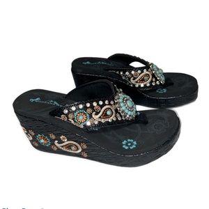 Montana West flip flops rhinestones & embroidery